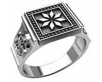 Кольцо серебряное Восьмилепестковая звезда и Свитовит,Светоч 30254