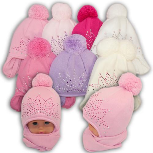 Детский комплект - шапка и шарф для девочки, Amal (Польша), утеплитель Iso Soft, dz-19