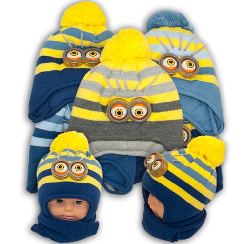 Детский комплект - шапка и шарф для мальчика,  Ambra (Польша), утеплитель Iso Soft, T-36