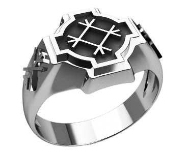 Кольцо серебряное Целебник и Дерево Жизни 30269