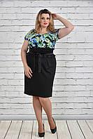 Женское платье больших размеров 0328 цветы зеленые
