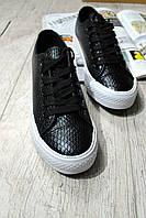 Черные женские кеды на шнуровке