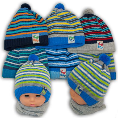 Детский комплект - шапка и шарф для мальчика, Grans (Польша), утеплитель Softi Term, A746ST
