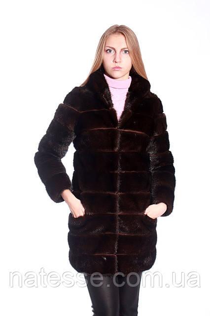 "Шуба из норки цвета ""горький шоколад""(поперечка) Mink fur coat"