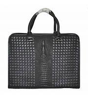 Портфель мужской Bottega Veneta Crocodile кожаный черный
