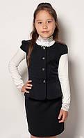 Костюм двойка школьный для девочки, юбка + жилет, черный, тиар, размер 122, 128, Mevis