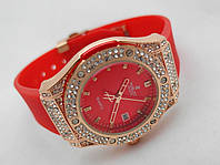 Женские часы HUBLOT - Geneve cristal, красный каучуковый ремешок, кристалы