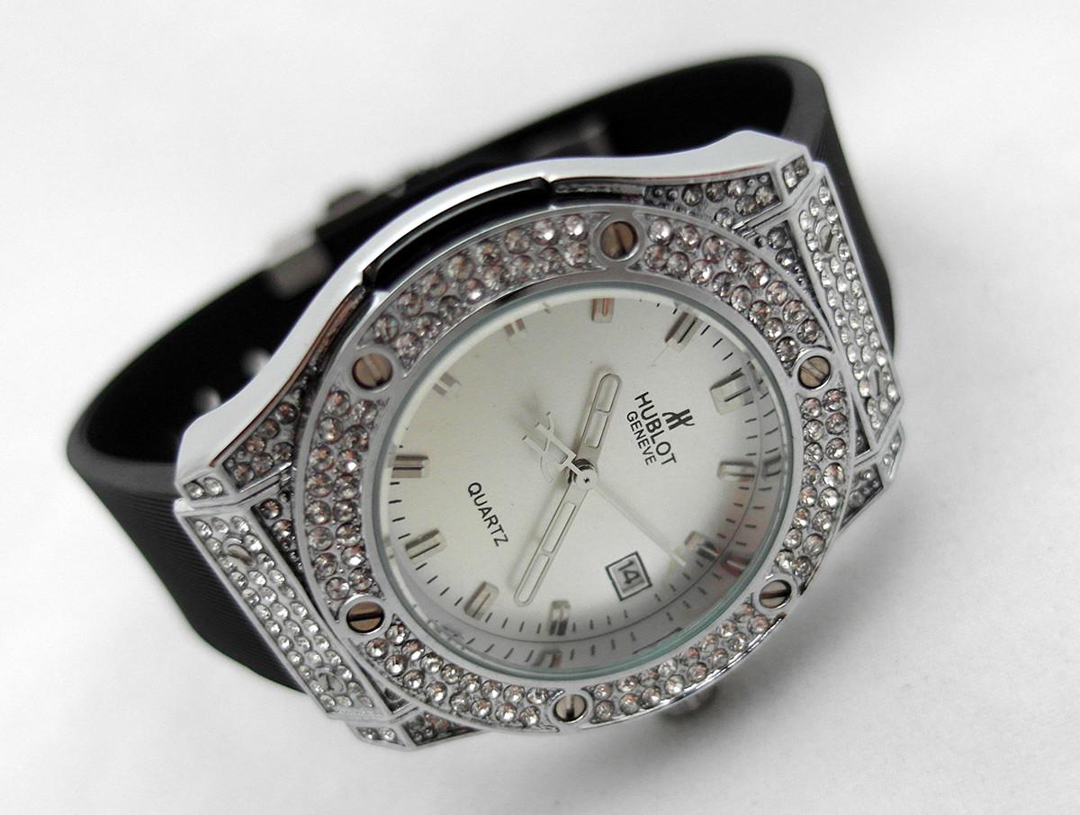 1a5143d8 Женские часы HUBLOT - Geneve cristal, черный каучуковый ремешок, кристалы -  4asovoy в Киеве