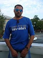 Футболка мужская Big Sam трикотажная, синяя на шнурке