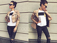 Куртка женская со съемной баской 8139 - Кофейный
