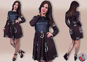 Платье вставка экокожа 21/315, фото 2
