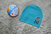 Детская спортивная шапка Адидас голубого цвета. Двойная