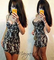 Леопардовое женское платье
