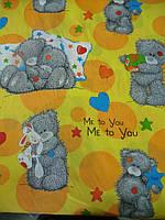 "Бязь с мишками Тедди  ""Teddy me to you"" на оранжевом фоне, фото 1"