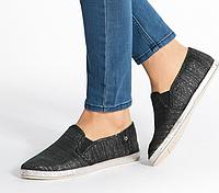 Слипоны мокасины женские черные тканевыеB740-1 BLACK,обувь осень