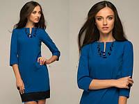 Мини платье синего цвета с кружевом внизу