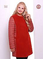 Женское утепленное пальто супер батал с капюшоном 4 цвета