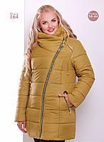 Женская зимняя куртка с ассиметричной застежкой 6 цветов