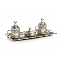 Набор чашек для кофе Серебряное сердце на 2 персоны