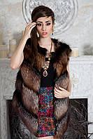 """Жилет из чернобурки косыми ярусами """"Нелли"""" Silver fox fur vest gilet sleeveless"""