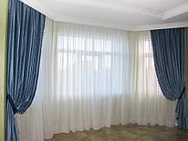 Синие шторы из бархата