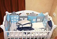 Охранка в детскую кроватку сине- голубые домики