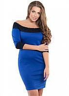Женское платье 1035 гипюр синий  от р. 48-54