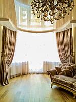 Классические шторы в пол с подхватами.