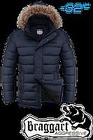 Куртка зимняя мужская на меху Braggart Aggressive - 1912A темно-синяя