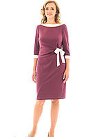"""Женское платье """"Бант"""" больших  размеров 48, 50, 52, 54 чайная роза"""