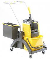 Візок для вологого прибирання AquvaViz 2х17л, жовтий, сірий