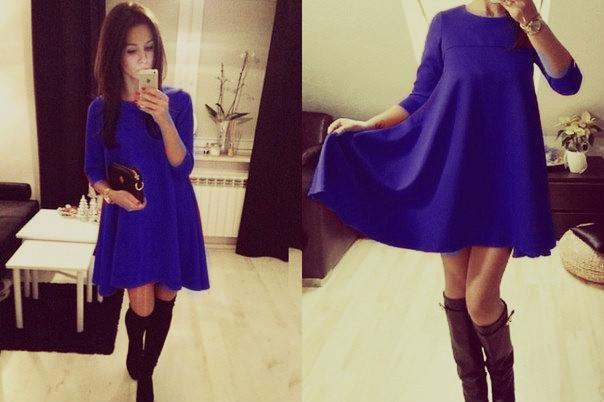 Трикотажное расклешенное платье, синее