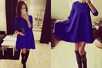 Трикотажное расклешенное платье, синее, фото 1