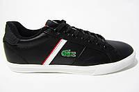 Мужские кроссовки Lacoste, кожаные, черные, Р 41 42 43 44 45