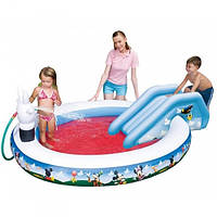 Надувной игровой центр Микки 91014 бассейн с душем и горкой  Intex