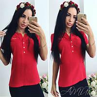 Блузка шифоновая с коротким рукавом