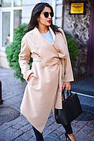 Женский батальный кашемировый кардиган с карманами