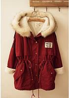 Куртка женская, бордо,утеплена искусственным мехом