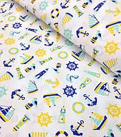 Хлопковая ткань польская балтика сине-желтая