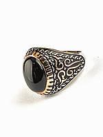 Мужское кольцо-перстень с черным овальным агатом 15х11 мм 19 размер (есть 20, 21) арт 029406