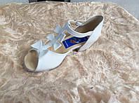 Туфли танцевальные белые кожаные