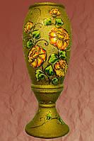 Ваза напольная Эрика шамот золото цветы