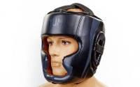 Шлем боксерский с полной защитой кожа VENUM черный