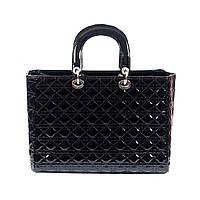 Стильная женская лаковая сумка Dior стеганый черный