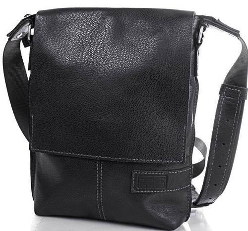 Кожаная мужская износостойкая сумка ETERNO (ЭТЭРНО) ERM501B Черная