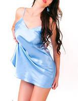 Пеньюар женский атлас, цвет нежно голубой, ночная сорочка шелк, ночная рубашка для прекрасных дам.