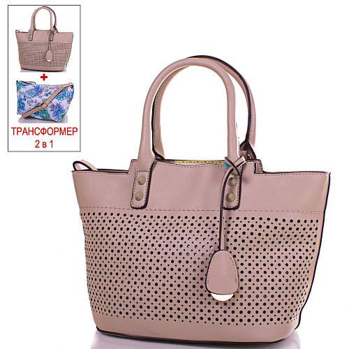 Женская бежевая сумка-трансформер из кожезаменителя GUSSACI (ГУССАЧИ) TUGUS14G060-5-9