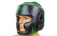 Шлем боксерский с полной защитой кожа VENUM черный-салатовый