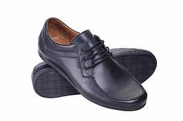 Мокасины мужские  на шнуровке из натуральной кожи PRIME чёрные
