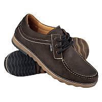 Мокасины мужские  на шнуровке коричневый нубук PRIME